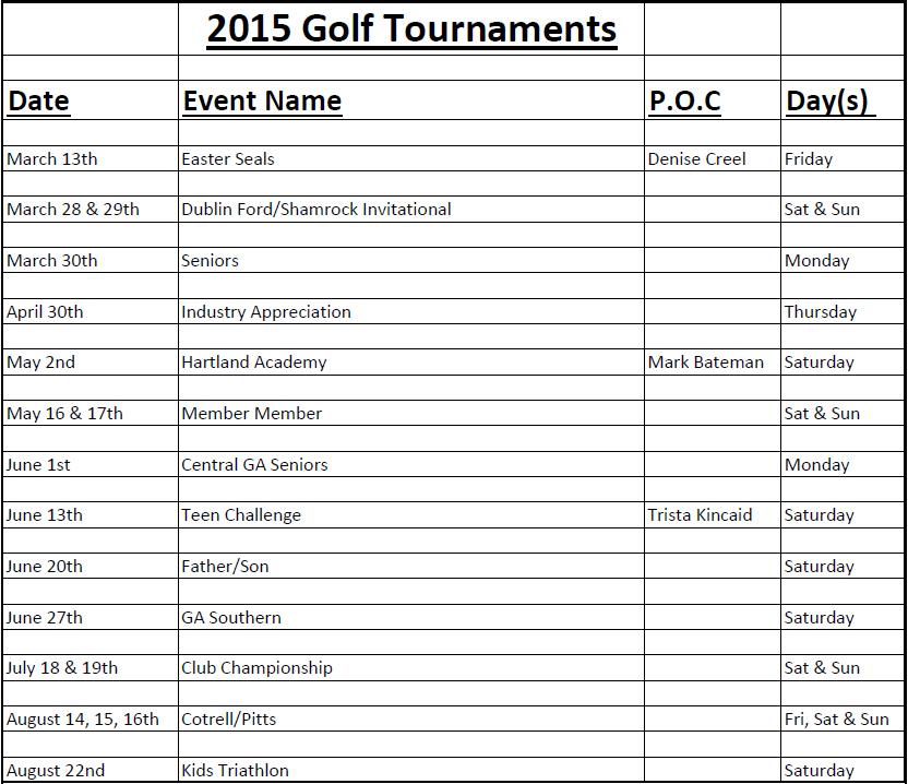 Golf Tournaments 2015